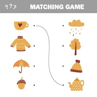 Gra edukacyjna dla dzieci. dopasuj elementy. gra dopasowująca wektor.