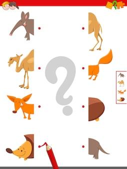 Gra edukacyjna dopasowywania połówek zwierząt