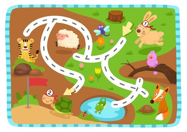 Gra edukacyjna labirynt dla dzieci ilustracja