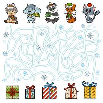 Gra edukacyjna labirynt dla dzieci, małych zwierzątek i prezentów świątecznych