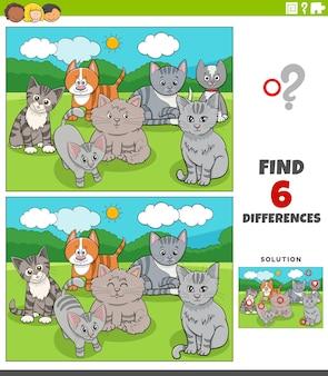 Gra edukacyjna o różnicach z kreskówkowymi kotami i kociętami