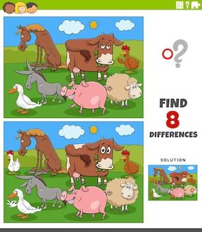 Gra edukacyjna o różnicach z kreskówkowymi zwierzętami hodowlanymi