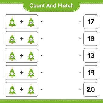 Gra edukacyjna polegająca na liczeniu choinek i dopasowywaniu odpowiednich liczb