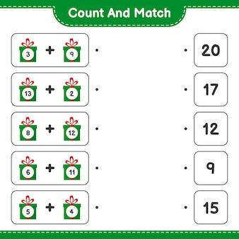 Gra edukacyjna polegająca na liczeniu pudełek upominkowych i dopasowywaniu odpowiednich liczb