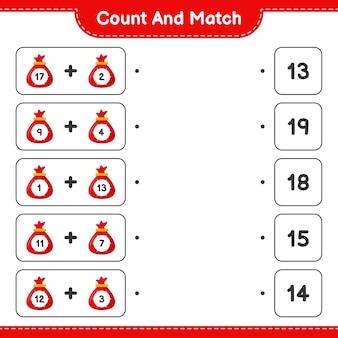 Gra edukacyjna polegająca na liczeniu woreczka świętego mikołaja i dopasowywaniu do odpowiednich liczb