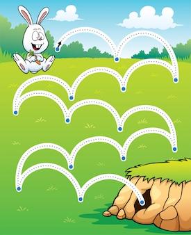Gra edukacyjna skok królika - kropka linii