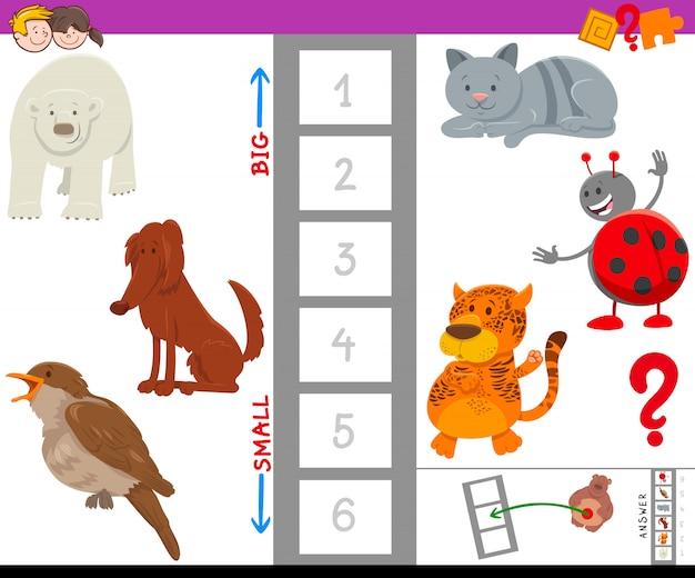 Gra edukacyjna z dużymi i małymi postaciami zwierząt