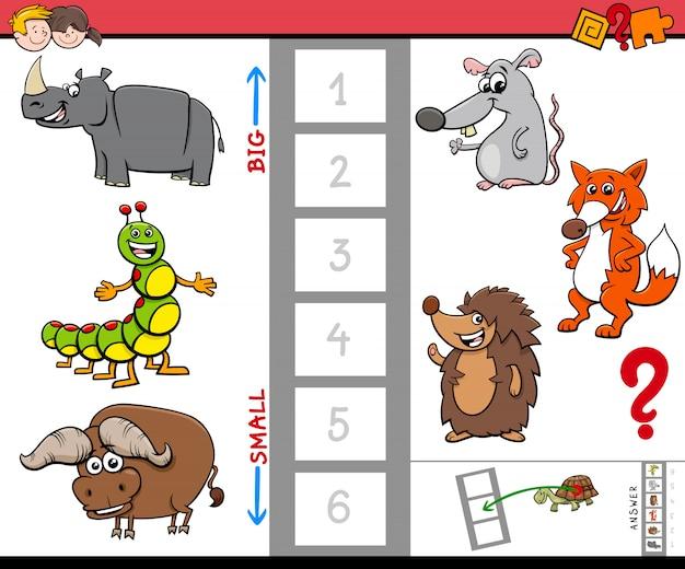 Gra edukacyjna z dużymi i małymi zwierzętami