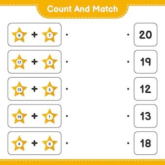 Gra edukacyjna z liczeniem gwiazdek i dopasowywaniem odpowiednich liczb
