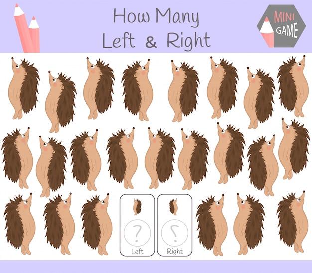 Gra edukacyjna zliczania obrazków dla dzieci z lewej i prawej strony z jeżem