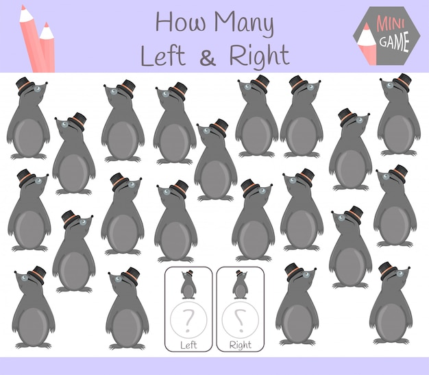 Gra edukacyjna zliczania obrazków dla dzieci z lewej i prawej strony z kretem