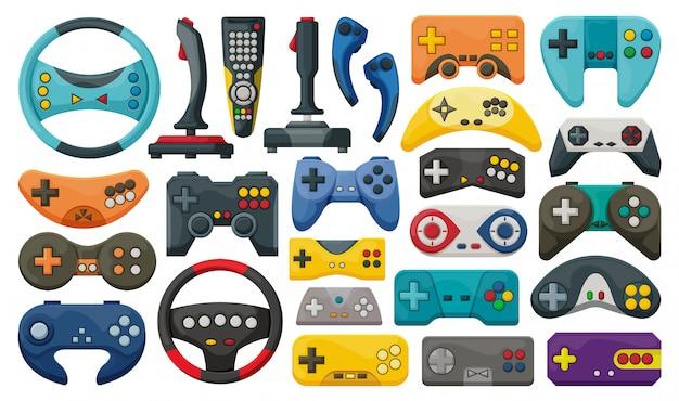 Gra joysticka na białym tle kreskówka zestaw ikon. cartoon ustawić ikonę gry joysticka.