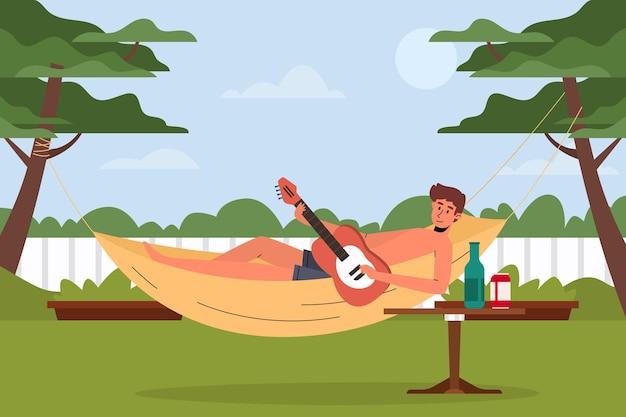 Gra koncepcja staycation na gitarze