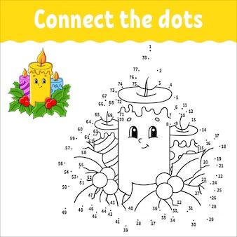 Gra kropka-kropka. narysuj linię. świece świąteczne płonące ozdobione liśćmi ostrokrzewu.