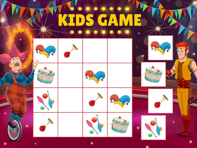 Gra labirynt dla dzieci, cyrkowe sudoku z klaunem i poskramiaczem