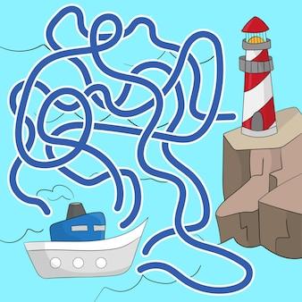 Gra labirynt dla dzieci. pomóż łodzi dostać się do latarni morskiej. gra dla dzieci