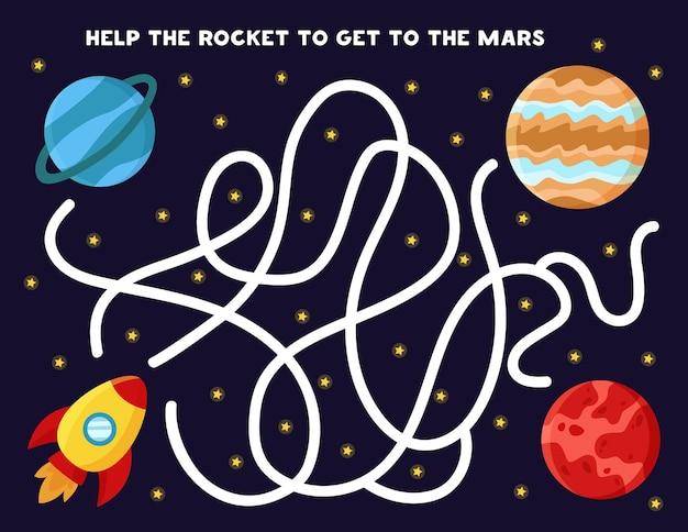 Gra labirynt dla dzieci. pomóż rakiecie dostać się na planetę mars. arkusz z motywami przestrzeni.