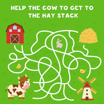 Gra labirynt dla dzieci. pomóż ślicznej krowie dostać się do stogu siana. arkusz dla dzieci.