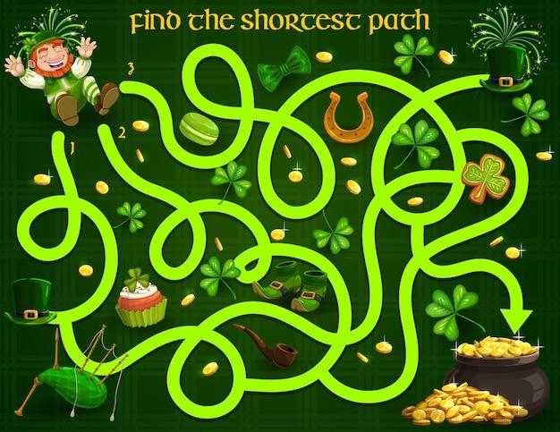 Gra labirynt dla dzieci z krasnoludkami św patryka