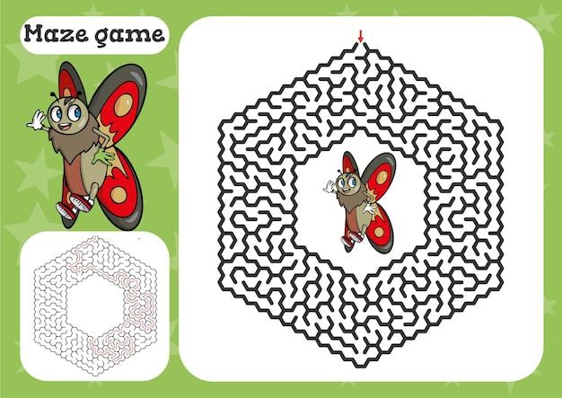 Gra labirynt dla dzieci z motylem