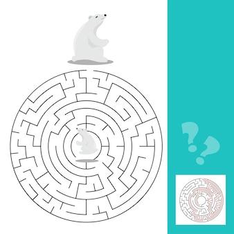 Gra labirynt dla dzieci z niedźwiedziami polarnymi - grafika wektorowa