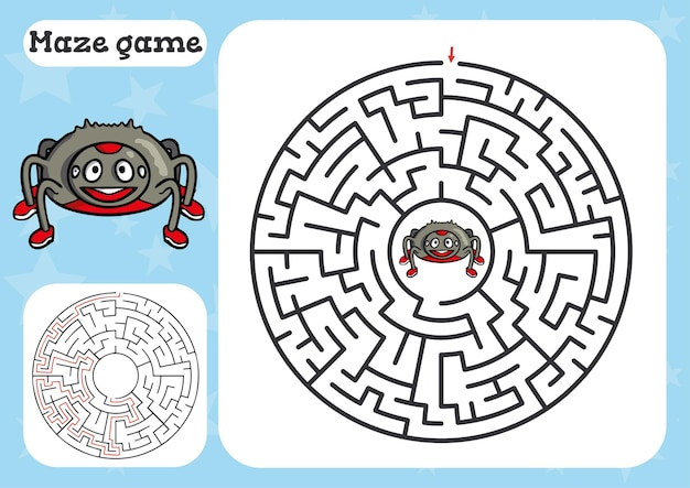 Gra labirynt dla dzieci z pająkiem