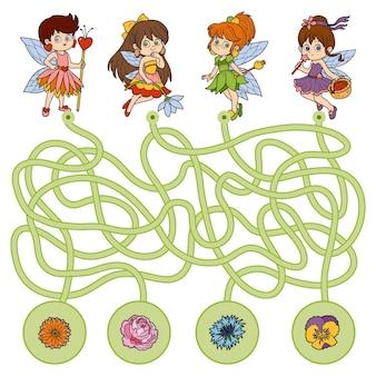 Gra labirynt, gra edukacyjna dla dzieci. małe wróżki i kwiaty
