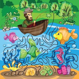 Gra labirynt rybaka - jasna zabawna ilustracja wektorowa