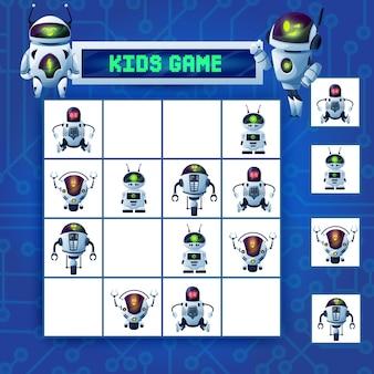 Gra labirynt sudoku dla dzieci, robota z kreskówek, wektor zagadka z cyborgami ai, humanoidami, dronami i androidami na planszy w kratkę. puzzle logiczne dla dzieci do rekreacji rekreacyjnej, gra planszowa z kartami