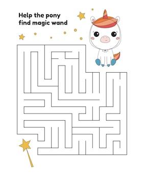 Gra labirynt z kreskówkowym kucykiem kawaii w kostiumie jednorożca
