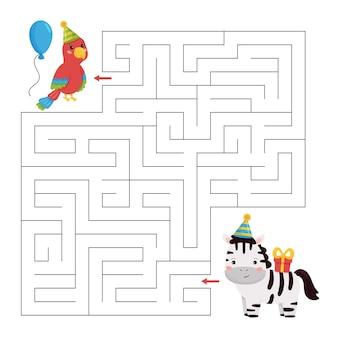 Gra labirynt z okazji urodzin dla dzieci. kreskówka papuga i zebra z prezentem.