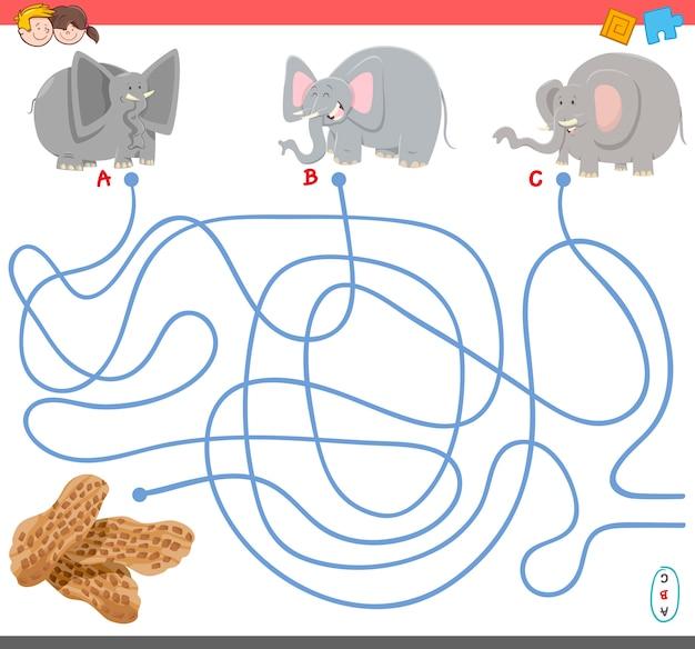 Gra labirynt z postaciami słonia
