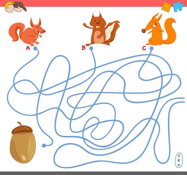 Gra labirynt z postaciami wiewiórki