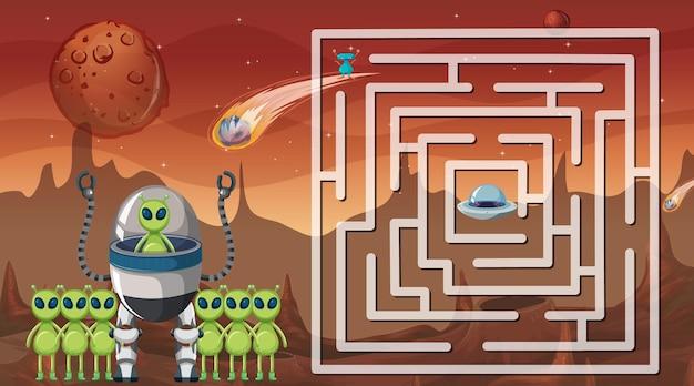 Gra labirynt z szablonem motywu kosmicznego
