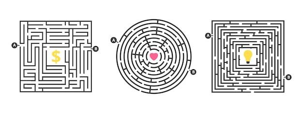 Gra labirynt. zabawny labirynt, puzzle na czas wolny. znajdź miłość lub pomysł na pieniądze. konkurencja życiowa lub metafora rozwiązania celu wyszukiwania. ilustracja wektorowa okrągłe kwadratowe labirynty. labirynt i labirynt puzzli