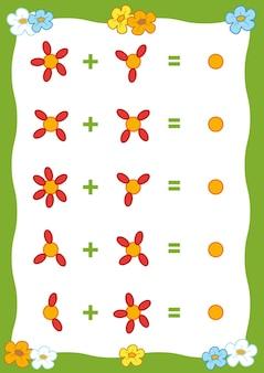 Gra licząca dla dzieci w wieku przedszkolnym policz płatki kwiatów na obrazku i napisz wynik