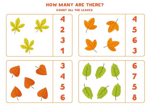 Gra licząca dla dzieci z jesiennymi liśćmi.