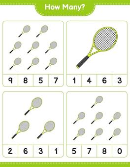 Gra licząca ile rakiet tenisowych gra edukacyjna dla dzieci do wydrukowania