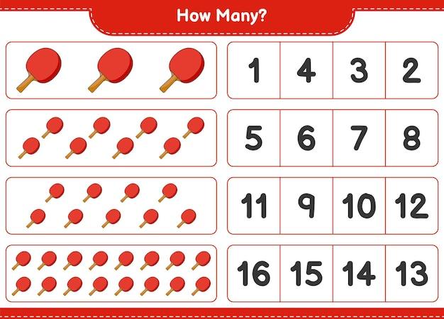 Gra licząca, ile rakieta do ping-ponga. gra edukacyjna dla dzieci, arkusz do druku, ilustracja wektorowa