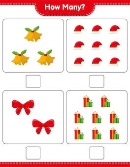 Gra licząca, ile świątecznych dekoracji gra edukacyjna dla dzieci, arkusz do druku,