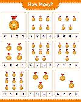 Gra licząca, ile trofeów. gra edukacyjna dla dzieci, arkusz do druku, ilustracja wektorowa