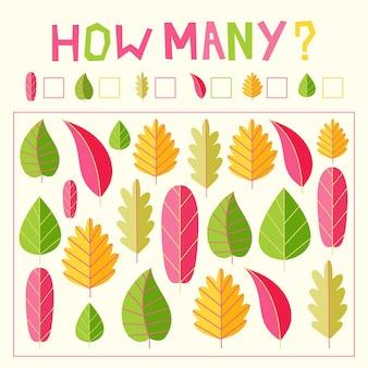 Gra licząca z kolorowymi liśćmi