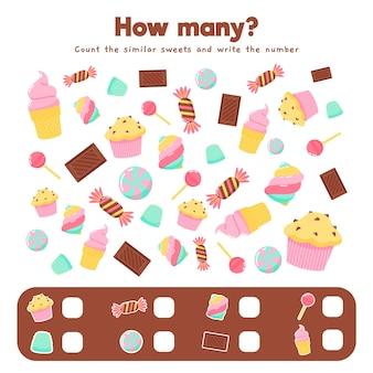Gra licząca z różnymi słodyczami