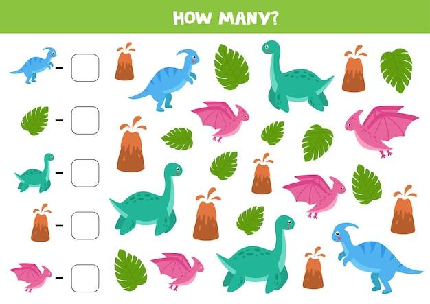 Gra licząca z uroczymi kreskówkowymi dinozaurami i wulkanami. arkusz matematyczny dla dzieci.