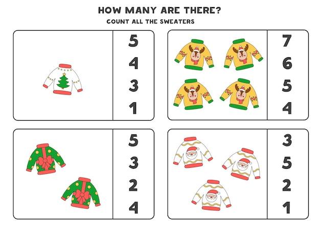 Gra licząca ze swetrami świątecznymi. arkusz edukacyjny.