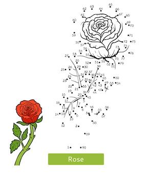 Gra liczbowa, edukacja kropka-kropka dla dzieci, kwiat rose