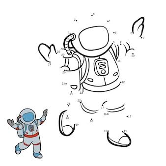 Gra liczbowa, edukacyjna gra kropka-kropka dla dzieci, astronauta