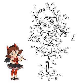 Gra liczbowa, edukacyjna gra kropka-kropka dla dzieci, diabelska dziewczyna