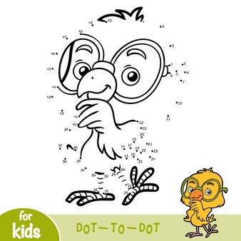 Gra liczbowa, edukacyjna gra kropka-kropka dla dzieci, kurczak