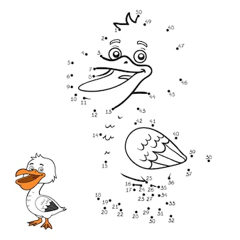 Gra liczbowa, edukacyjna gra kropka-kropka dla dzieci, pelikan